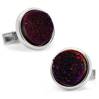 Sterling Silver Round Red Druzy Cufflinks