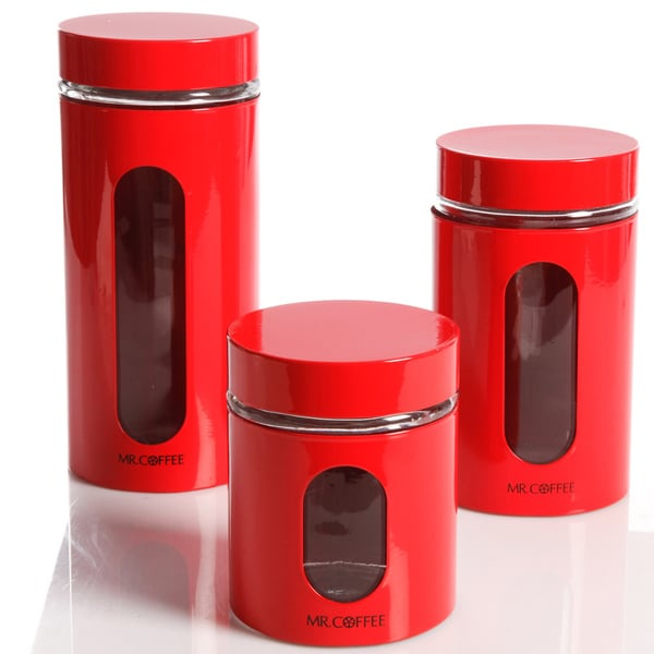 Gibson 3 Piece Red Canister Set Free Shipping On Orders