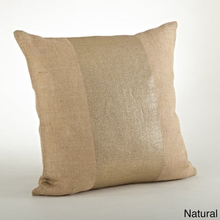 Banded Foil Burlap Down Filled 20-inch Throw Pillow