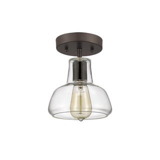 Chloe Loft/ Industrial 1-light Oil Rubbed Bronze Semi-flush Mount