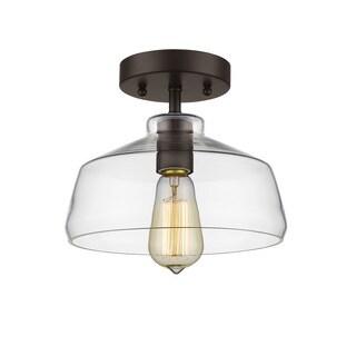 Chloe Lighting Loft/Industrial Oil-rubbed Bronze 1-light Semi-flush Mount