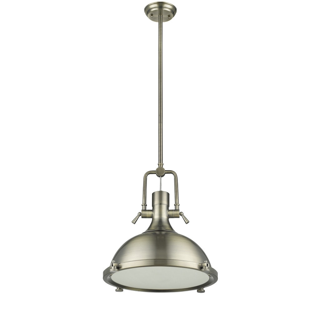 Chloe Loft/ Industrial 1-light Antique Brass Pendant, Gol...