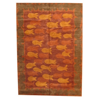 Herat Oriental Nepali Hand-knotted Vegetable-dyed Tibetan Wool Rug (10'1 x 14'3)