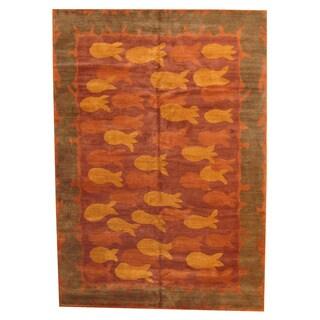Herat Oriental Nepali Hand-knotted Vegetable Dye Tibetan Wool Rug (10'1 x 14'3)