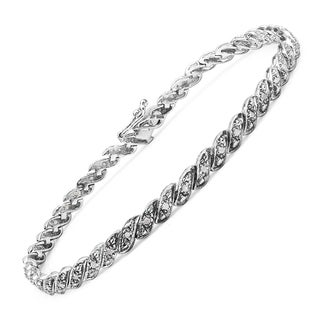 Malaika Sterling Silver 1/3ct TDW Diamond Bracelet