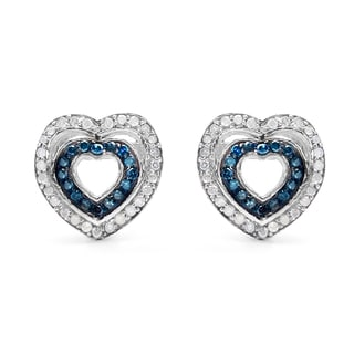 Malaika Sterling Silver 1/2ct Blue Diamond and White Diamond Heart Shape Earrings