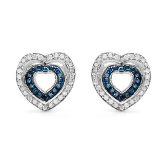 Malaika Sterling Silver 1/2ct Blue Diamond and White Diamond Heart Shape Earrings