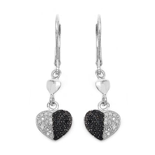 Malaika Sterling Silver 1/2ct Black Diamond and White Diamond Heart Shape Earrings