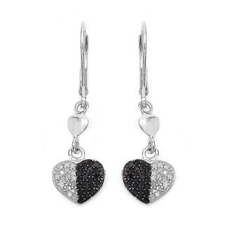 Malaika Sterling Silver 1/2ct Black Diamond and White Diamond Heart Shape Earrings