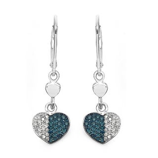Malaika Sterling Silver 1/2ct Blue Diamond and White Diamond Heart Leverback Earrings