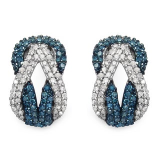 Malaika Sterling Silver 1ct Blue Diamond and White Diamond Earrings