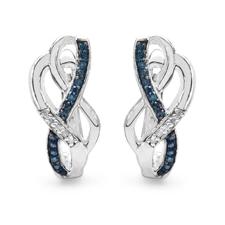Malaika Sterling Silver 1/4ct Blue Diamond and White Diamond Earrings