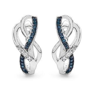 Malaika Sterling Silver 1/4ct Blue Diamond and White Diamond Earrings