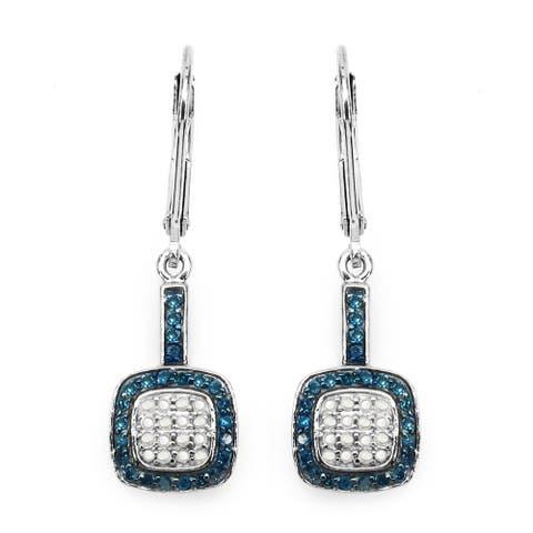 Malaika Sterling Silver 1/2ct Blue Diamond and White Diamond Leverback Earrings