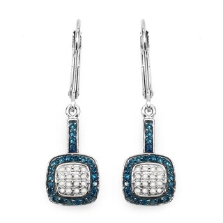 Malaika Sterling Silver 1/2ct Blue Diamond and White Diamond Leverback Earrings