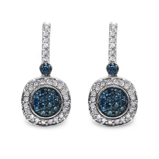 Malaika Sterling Silver 1/2ct Blue Diamond and White Diamond Earrings