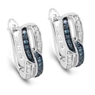 Malaika Sterling Silver 1/4ct Blue Diamond and White Diamond Interlocking Earrings