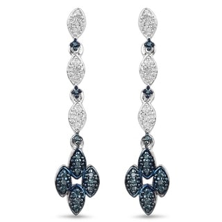 Malaika Sterling Silver 1/4ct Blue Diamond and White Diamond Dangle Earrings