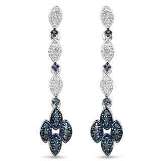 Malaika Sterling Silver 1/4ct Blue Diamond and White Diamond Dangle Earrings