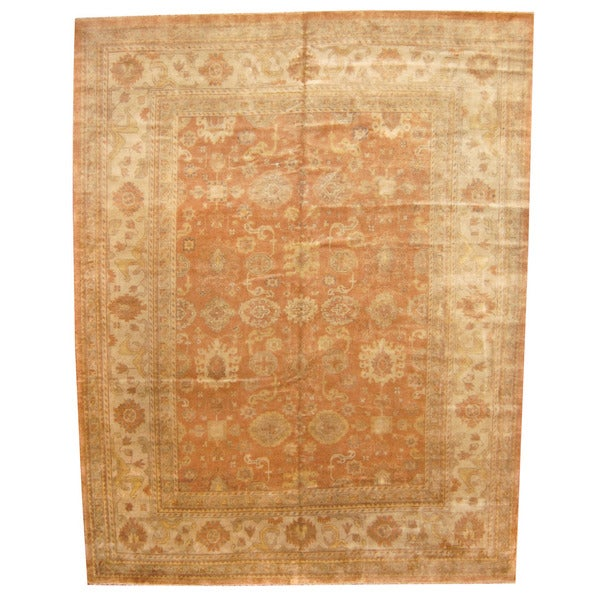 Vegetable Dyed Hand Knotted Floral Oushak Ivory Persian: Herat Oriental Indo Hand-knotted Vegetable Dye Oushak Wool