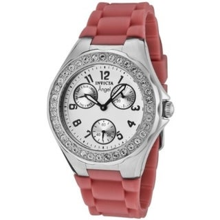Invicta Women's Angel Crystal Accented White Dial Pink Rubber Silicone Date Watch