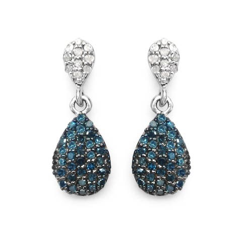 Olivia Leone Sterling Silver 1/2ct Blue Diamond and White Diamond Dangle Earrings