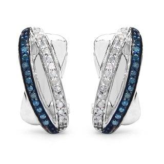 Malaika Sterling Silver 1/3ct Blue Diamond and White Diamond Earrings