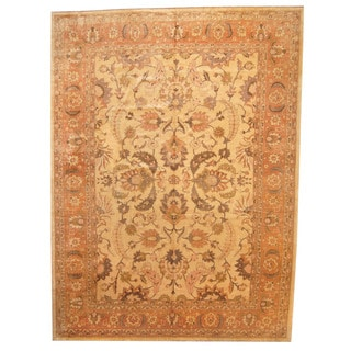 Herat Oriental Afghan Hand-knotted Vegetable-dyed Oushak Wool Rug (11'9 x 15'10)