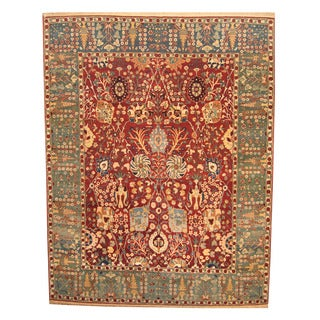 Herat Oriental Indo Hand-knotted Vegetable-dyed Oushak Wool Rug (12' x 15')