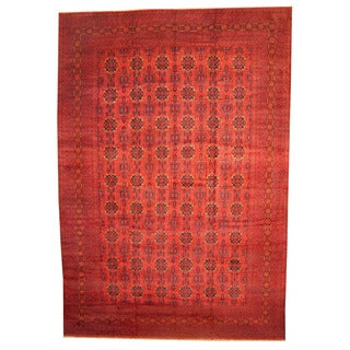 Herat Oriental Afghan Hand-knotted Vegetable-dyed Khal Mohammadi Wool Rug (12'10 x 19'5)