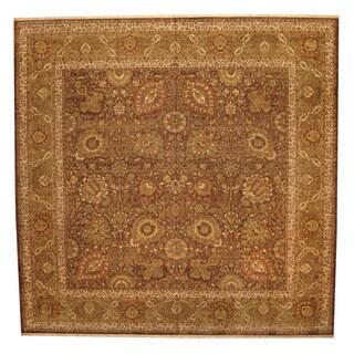 Herat Oriental Indo Hand-knotted Tabriz Wool Rug (14' x 14') - 14' x 14'