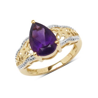 Malaika 14k Yellow Goldplated Sterling Silver 2 1/2ct Genuine Amethyst Pear Shape Ring