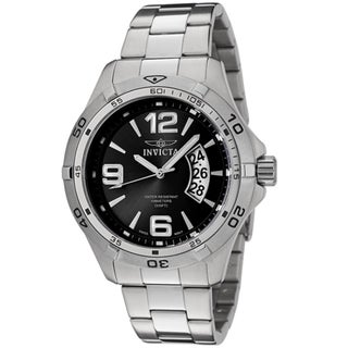 Mens Invicta Specialty All Stainless Steel Large Date 10 ATM Watch