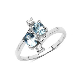 Olivia Leone Sterling Silver 1 1/10ct Genuine Blue Topaz and White Topaz Ring