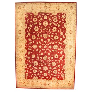 Herat Oriental Afghan Hand-knotted Vegetable-dyed Oushak Wool Rug (12'1 x 17'4)