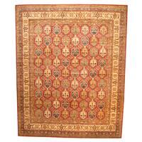 Herat Oriental Afghan Hand-knotted Vegetable Dye Super Kazak Wool Rug (13'7 x 16'10) - 13'7 x 16'10