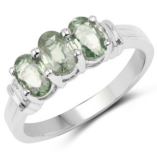 Olivia Leone Sterling Silver 2ct Genuine Green Sapphire Ring (2 options available)