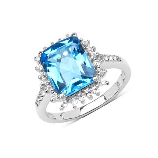 Olivia Leone Sterling Silver 4 2/5ct Genuine Swiss Blue Topaz and White Topaz Ring