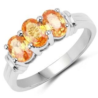 Olivia Leone Sterling Silver 2ct Genuine Orange Sapphire Ring