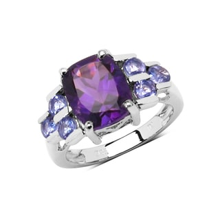 Olivia Leone Sterling Silver 3 1/5ct Genuine Amethyst and Tanzanite Ring