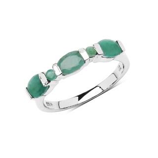 Olivia Leone Sterling Silver 1 1/2ct Genuine Emerald Ring