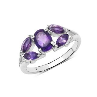 Olivia Leone Sterling Silver 1 1/2ct Genuine Amethyst Ring