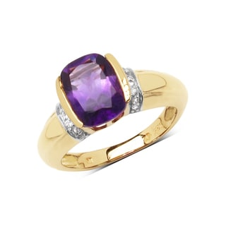 Olivia Leone 14k Yellow Goldplated Sterling Silver 1 7/8ct Genuine Amethyst and White Topaz Ring