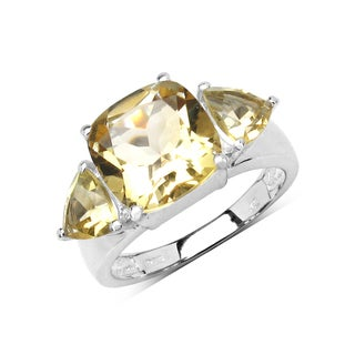 Olivia Leone Sterling Silver 4 2/5ct Genuine Citrine Ring
