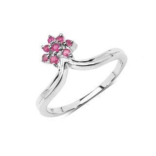 Olivia Leone Sterling Silver 1/5ct Genuine Ruby Ring