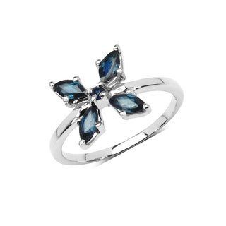 Olivia Leone Sterling Silver 4/5ct Genuine Blue Sapphire Ring