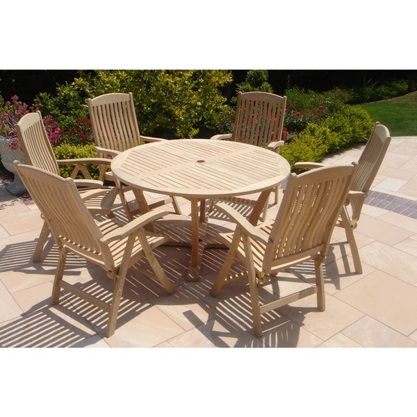 Shop Roble Wood Piece Round Table An Chairs Dining Set Free - 7 piece outdoor dining set round table