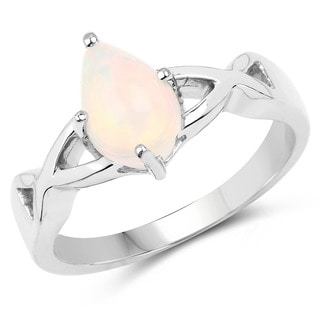 Olivia Leone Sterling Silver 3/4ct Genuine Ethiopian Opal Ring