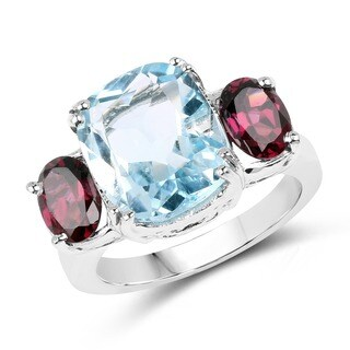 Olivia Leone Sterling Silver 6 1/2ct Blue Topaz and Rhodolite Ring