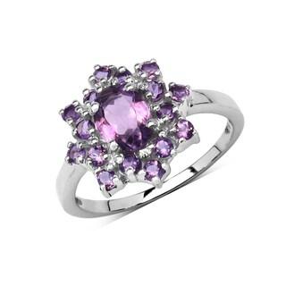 Olivia Leone Sterling Silver 1 5/8ct Genuine Amethyst Ring